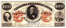 $100 1862 Virginia Treasury Note- Appears Gem Very Rare Grade Note