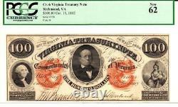 $100 1862 Virginia Treasury Note- Pcgs 62 New Very Rare Grade Note