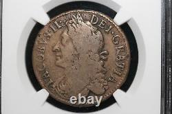 1690 Ireland. 1/2 Crown. March. Very rare MAO error. NGC Graded Fine