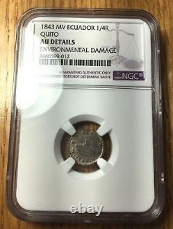 1843 Ecuador 1/4 reales NGC AU Quito silver republic VERY RARE in HIGH GRADE