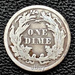 1865 S Seated Liberty Dime 10c San Francisco VERY RARE Higher Grade VF + #20857