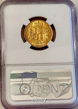 1875 S NGC AU58 Victoria Shield Back Gold Sovereign. Very Rare In High Grade