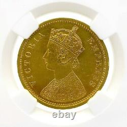 1877 (C) India 1 Mohur Gold Coin Graded AU58 by NGC Very Rare only 10,000 Minted