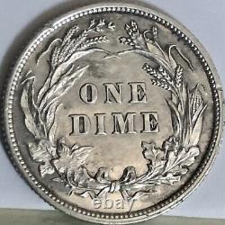 1893 PROOF Barber Dime 10c High Grade Details Very Rare Only 782 Minted #19392