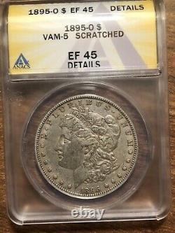 1895-O Morgan Silver Dollar Graded by ANAC EF-45 Details! XF Key Date Very Rare