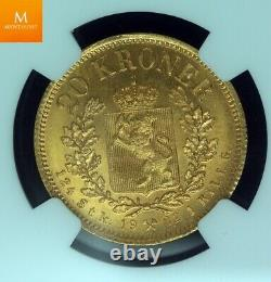 1902 Norway gold 20 kroner NGC MS67 very rare grade