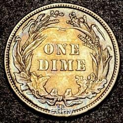 1908 D Barber Dime 10c 90/08 FS-303 Very Rare High Grade Details Toned VP-001