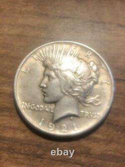 1921 Peace Silver Dollar High Relief HIGH GRADE! Looks AU Key Date! Very Rare