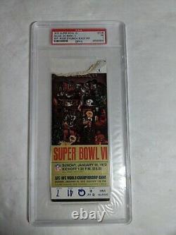 1972 Super Bowl VI COWBOYS VS DOLPHINS PSA 1 Graded Ticket Stub VERY RARE