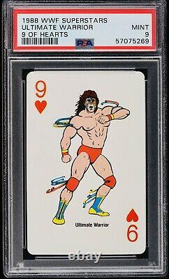 1988 WWF ULTIMATE WARRIOR 9 Of Hearts Playing Card. PSA 9 Very Rare Grade