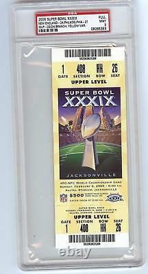2005 Super Bowl XXXIX Psa 9 Full Ticket Very High Grade Eagles Patriots Rare