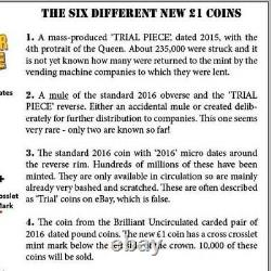 2016 Trial Piece £1 One Pound Coin Very Rare Genuine Graded Mule Not Many Made