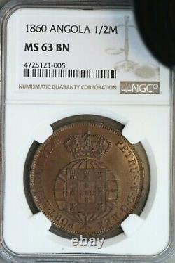 Angola 1860 1/2 Macuta NGC MS63BN Very Rare in High Grade