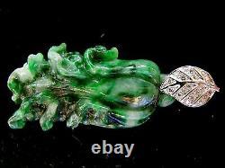 Authentic Jadeite Pendant Very Rare Grade A 14k White Gold Natural Diamonds