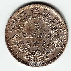 BOLIVIA 5 c 1883-A KM169.1 Cu-Ni Paris 1yr type UNHOLED HIGH GRADE VERY RARE