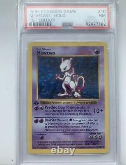Base Set 1999 Mewtwo 1st Edition, Shadowless, Thick Stamp, Psa7 Grade, Very Rare