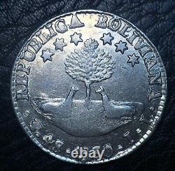 Bolivia, coin 4 Soles 1830, BOLIVIANA/REPUBLICA Error. Very rare and good grade