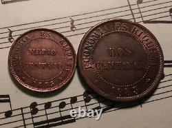 CHILE 1/2 + 2 centavos 1883-So KM148a+147a Cu VERY NICE PAIR RARE in TOP GRADE