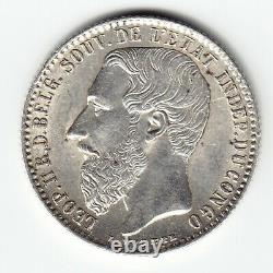 CONGO FREE STATE 1 Franc 1887 KM6 Ag. 835 Minted 20,000 VERY RARE in TOP GRADE
