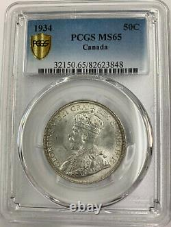 Canada 1934 50 Cents PCGS Certified MS65 Gold Shield Very Rare in High Grade MS