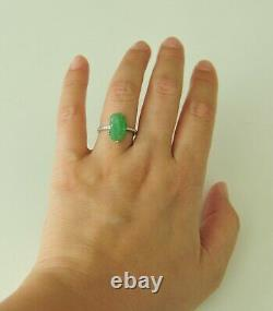 Certified Grade A Very Rare Icy Apple Green Jadeite Diamond Ring 18K Solid 6.5