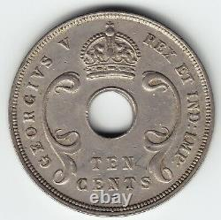 EAST AFRICA & UGANDA 10 c 1918-H KM8 CuNi Last & KEY date HIGH GRADE VERY RARE