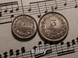 EL SALVADOR 1 + 3 centavos 1889 KM106+107 CuNi 2yr types VERY RARE in TOP GRADE