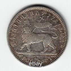 ETHIOPIA 1/8 Birr EE1887 1895 KM2 Ag. 835 3.5g A-Paris HIGH GRADE VERY RARE