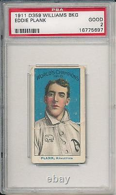 Eddie Plank 1911 D359 Williams Baking PSA 2 1 of 2 graded 3 SGC's Very rare