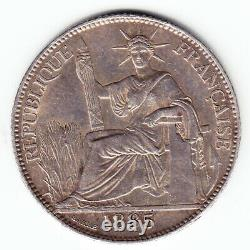FRENCH INDO-CHINA 20 cents 1885-A KM3 Ag. 900 1st date VERY HIGH GRADE RARE