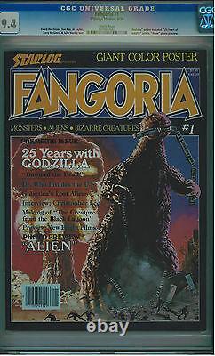 Fangoria #1 Cgc 9.4 08/79 Godzilla Cvr Very Rare In High Grade White Pgs