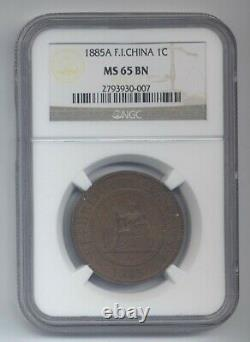 French Indochina 1 centime 1885 A, graded MS65 by NGC, very rare