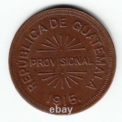 GUATEMALA 12 ½ centavos 1915 KM230 Cu 1-yr type Die cracks TOP GRADE VERY RARE