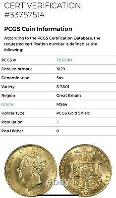 George IV 1829 Gold Sovereign Pcgs Ms64 Highest Graded A Very Rare Coin