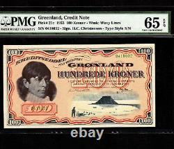 Greenland 100 Kroner 1953 P-21c PMG Gem Unc 65 EPQ Very Rare Grade