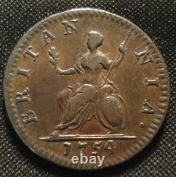 High Grade 1754 George II Farthing (fa28) Very Good Detail Rare Thus