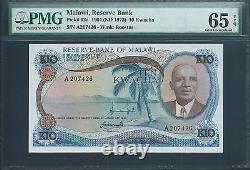 MALAWI 10 Kwacha P12a 1964 ND(1973) PMG 65 EPQ Very rare in this grade