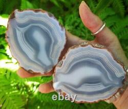 Natural Very Rare Australian Monochrome Aa Grade Agate Geode Pair. Stunning