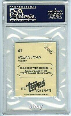 Nolan Ryanvery Rare (pop 26) 1982 Topps Stickers Psa-10 Gem-mt Hot Card #41