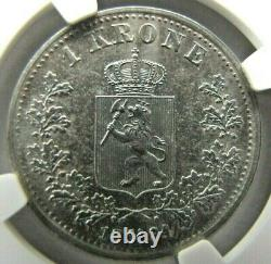 Norway 1 Krone 1894 NGC AU details. Very rare this high grade