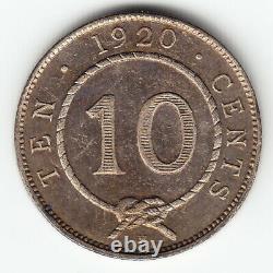 SARAWAK 10 cents 1920-H KM15 Ag. 400 1yr type HIGH GRADE minted 150,000 VERY RARE