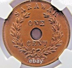 Sarawak 1 Cent 1893-H NGC MS64 BN Very rare this high grade