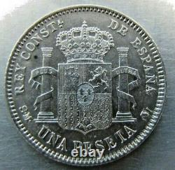 Spain 1 Peseta 1905 sharp lustrous AU. Very rare grade