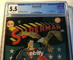 Superman 14 DC Comics 1942 CGC graded 5.5 FN Minus Wh pages tight/square spine