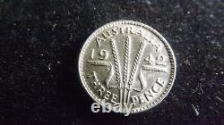 Threepence 1942m A/unc Very Rare Coin This Grade Cv$1400