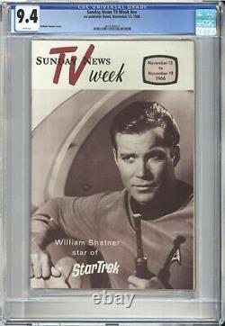 Tv Week Cgc Nm 9.4 Very Rare 1966 Star Trek Capt Kirk Cover Highest Grade