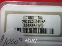 VERY RARE1883 PROOF SHIELD NICKLE NGC GRADED PROOF 65 mintage 5419 free s&h