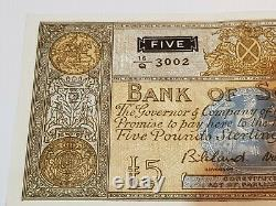 Very Rare 1957 Bank of Scotland £5 Banknote High Grade Con 16/Q 3001/3002