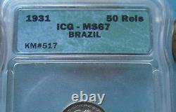 Very Rare Grade Low Mintage 1931 Brazil 50 Reis ICG Cert MS67