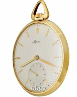 Very Rare Nice 18k Yellow Gold Alpina High Grade Swiss Made Men's Pocket Watch